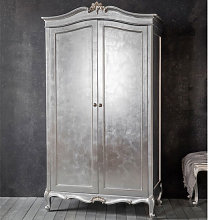 Chic Wooden Wardrobe In Silver With 2 Doors