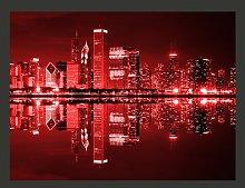 Chicago in Dark Red Lights 1.93m x 250cm Wallpaper