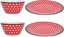 CHICIRIS Food Plate, Red Dots Smooth Surface