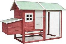Chicken Cage Red 170x81x110 cm Solid Pine & Fir
