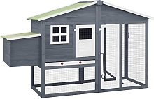 Chicken Coop with Nest Box Grey and White Solid