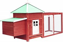 Chicken Coop with Nest Box Red 193x68x104 cm Solid