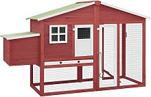 Chicken Coop with Nest Box Red and White Solid Fir