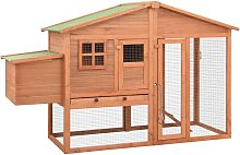Chicken Coop with Nest Box Solid Fir Wood - Brown