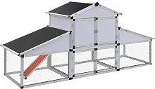 Chicken Coop with Runs and Nest Box Aluminium