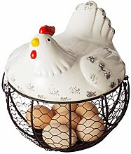Chicken Shape Ceramics Metal Egg Basket Decorative