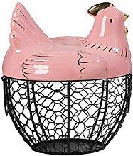 Chicken Shape Ceramics Metal Egg Basket - Fruits