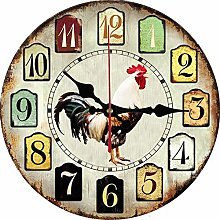 Chicken wall clock. Large ceramic wall clock with