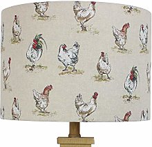 Chickens & Cockerel Country Drum Lampshade (20 cm