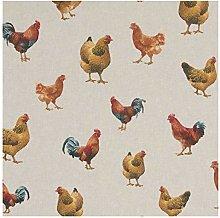 Chickens/Hens - 1/2 Metre - Natural Cotton Linen