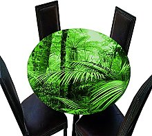 Chickwin Elastic Edged Round Tablecloth, 3D Plant