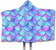 Chickwin Mermaid Hooded Blanket for Adult Kids,