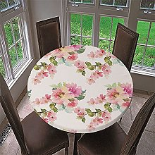 Chickwin Round Fitted Tablecloth Elastic Edged, 3D