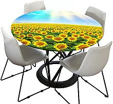 Chickwin Round Tablecloth Fitted Elastic Edged,