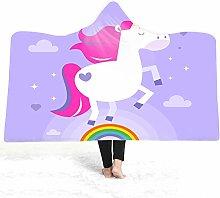 Chickwin Unicorn Hooded Blanket for Adult Kids