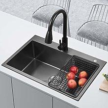 chicstyleme 21 inch Black Nano Sink Single Bowl