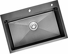 chicstyleme 26 inch Black Nano Sink Single Bowl