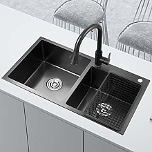 chicstyleme 29 inch Black Nano Sink Double Bowl