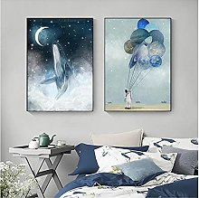 Chifang Abstract Blue Whale Canvas Painting