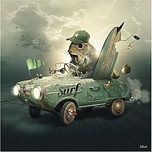 Chifang Abstract Squirrels In Cars Animal Canvas