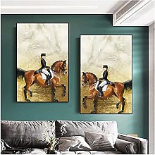 Chifang Girl Riding A Horse Canvas Painting Modern
