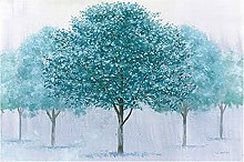 Chifang Modern Abstract Blue Tree Print on Canvas