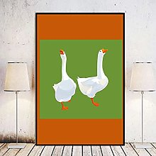Chifang Two White Geese Canvas Print Wall Art