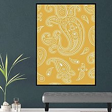 Chifang White Paisley print on Spicy Mustard