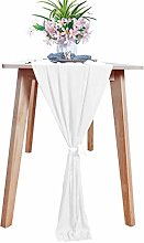 Chiffon-Table-Runner White 29x120 Inch Sheer Table