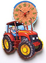 Child's Red Tractor Wall Clock - KC18