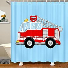 Child Cartoon Car Shower Curtain with Hooks Fire