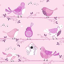 Children's Birds Floral Wallpaper Pink Musical