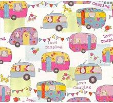 Children's Camper Van Caravan Wallpaper Pink