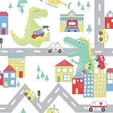 Children's Dino Road Wallpaper White Nursery