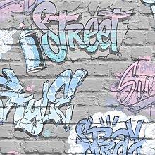 Children's Graffiti Brick Wallpaper Metallic