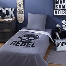 Children's Grey Cotton Bedding Set with Black