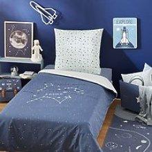 Children's Navy Blue Print Cotton Bedding Set