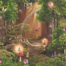 Children's Pixie Trees Fairy Wallpaper Red