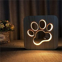 Children's Wooden Night Light with Wolf Paw