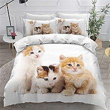 Children Adult Duvet Cover Set Animal 3D Pet Cat