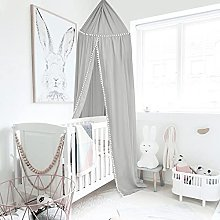 Children Bed Canopy Gray Round Dome,Princess Bed