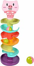 Children Building Block Tower Spin Track Turn
