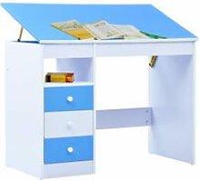 Children Drawing Study Desk Tiltable Blue and