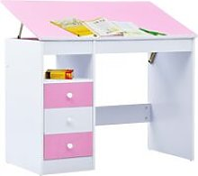 Children Drawing Study Desk Tiltable Pink and