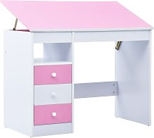 Children Drawing Study Desk Tiltable Pink and