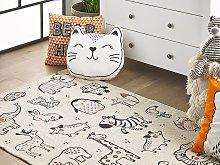 Children Rug White with Black Fabric 90 x 145 cm