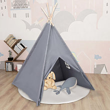 Children Teepee Tent with Bag Peach Skin Grey