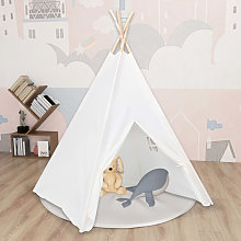 Children Teepee Tent with Bag Peach Skin White