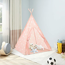 Children Teepee Tent with Bag Polyester Pink