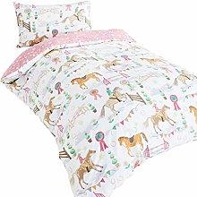 Childrens boys girls single bed duvet set horse